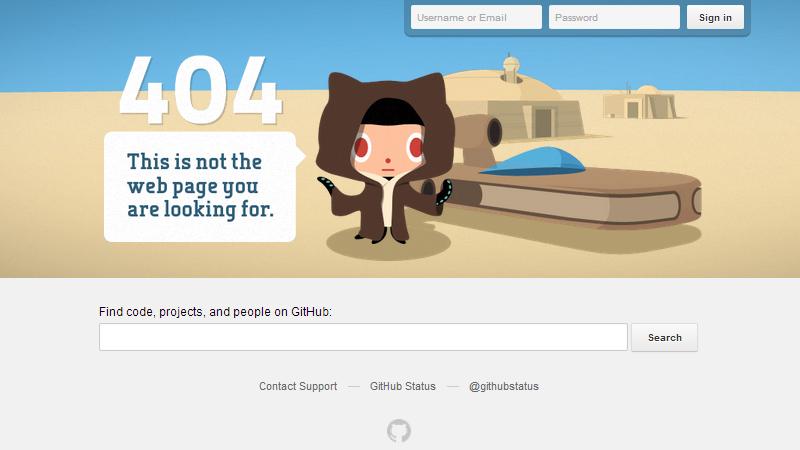 GitHub's 404 error page screenshot