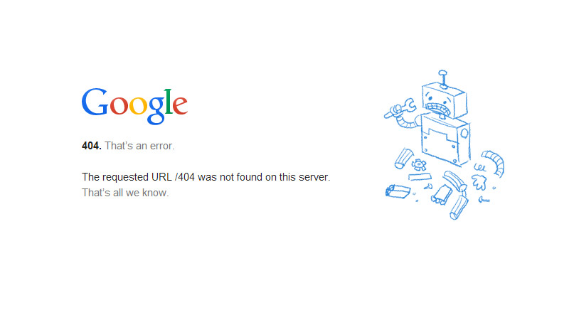 google 404 page screenshot