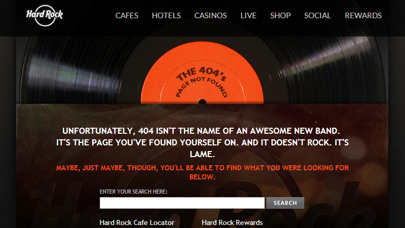 Hard Rock Cafe's 404 error page