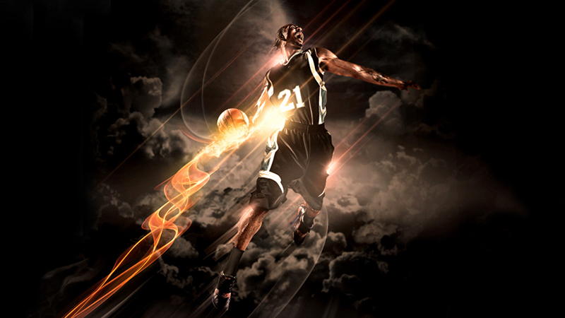 A graphic of a basketball player created with Adobe Photoshop