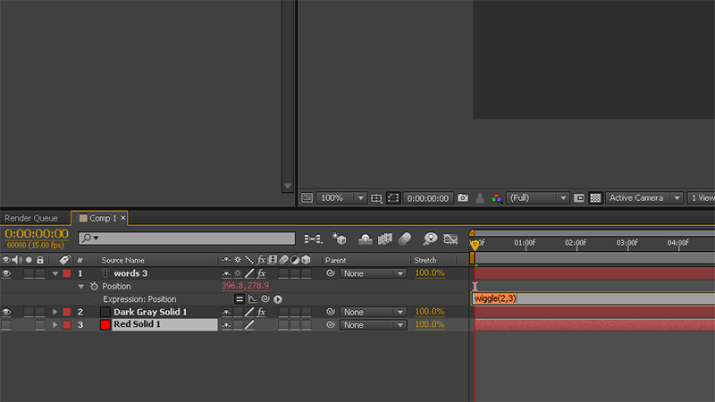 Screen shot of After Effects interface with an example of the wiggle espression.