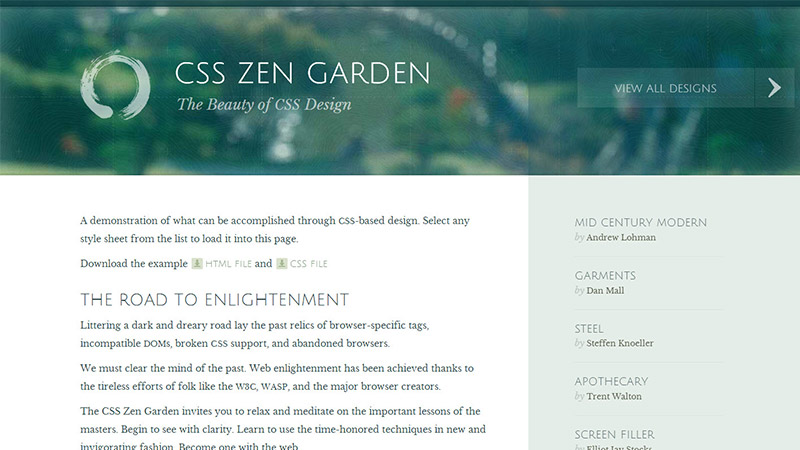 Screenshot of CSSZengarden.com homepage