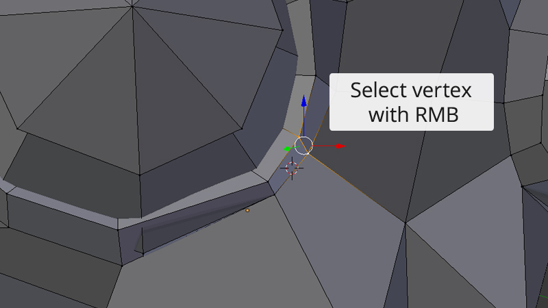 A screenshot showing how vertex selection works in Blender