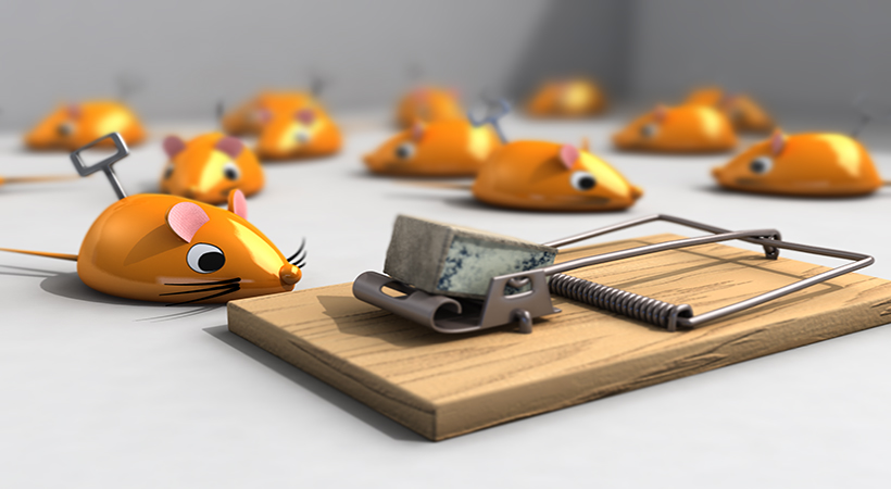Houdini rendered image of a mouse next to a mouse trap