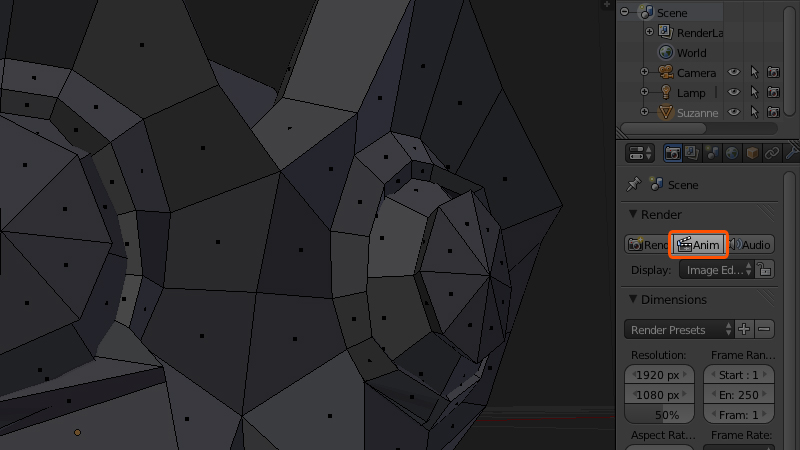 A screenshot showing where the render anim button is in Blender