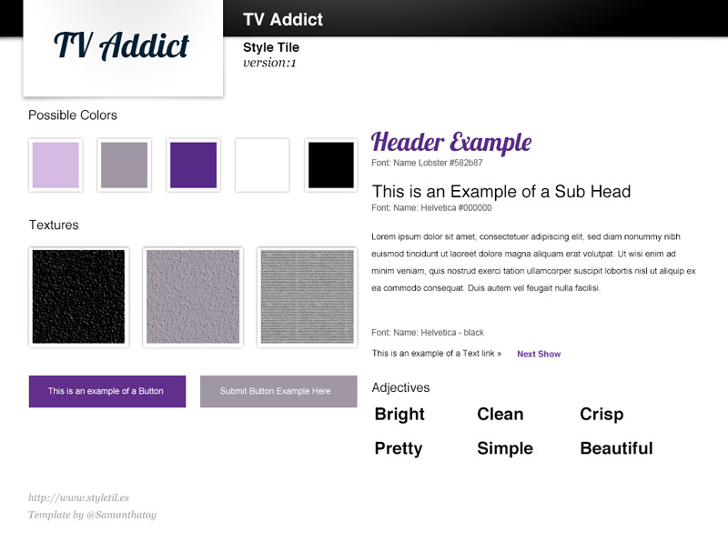 Style Tile for fake TV Addict site