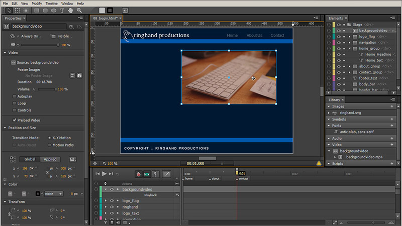 Screenshot of work in Edge Animate