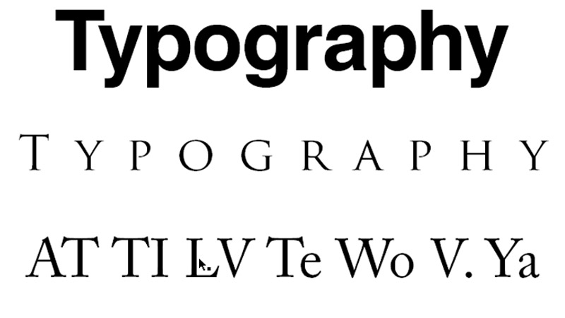 Example of kerning