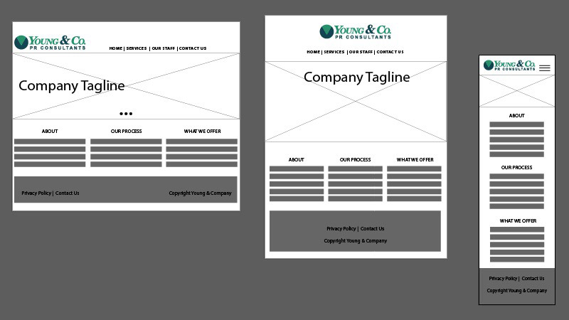 Image of 3 different wireframes