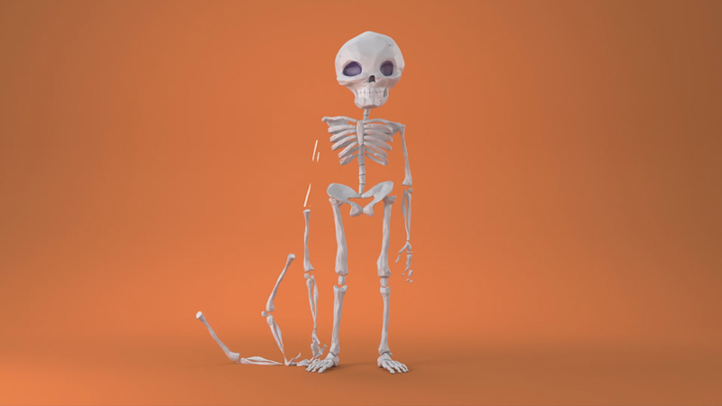 Skeleton with arm falling off