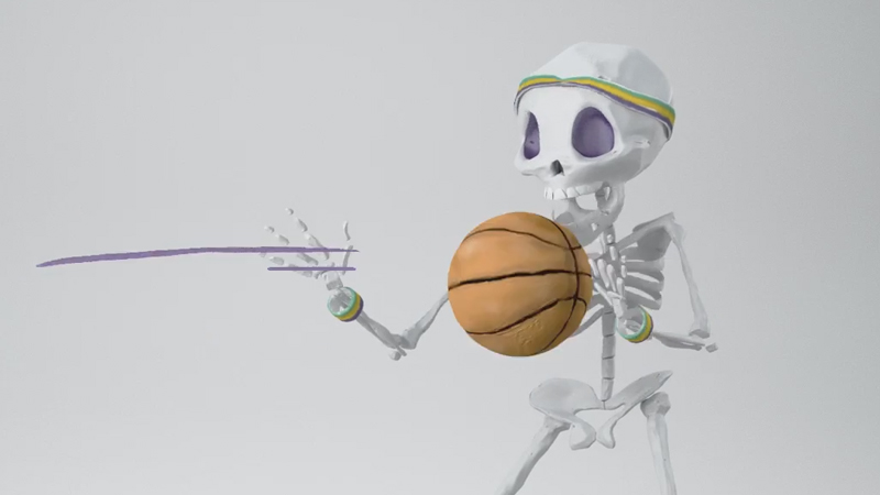 Skeleton catching basketball