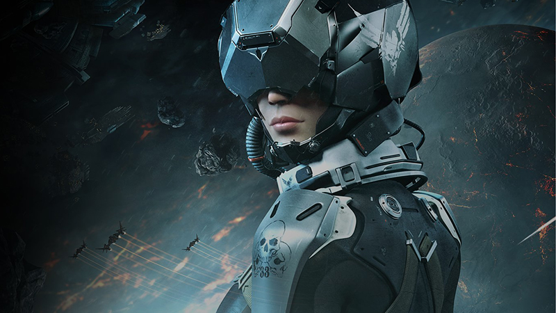 Unreal Engine 4 futuristic woman in space graphic