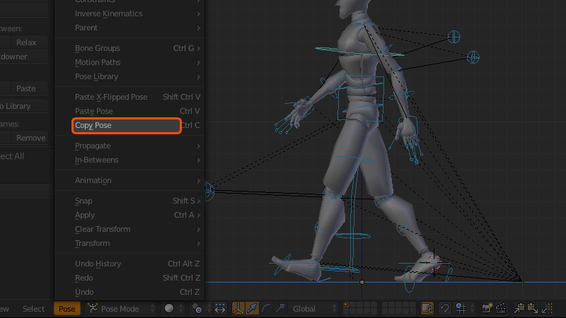 copy pose button in Blender for walk cycle