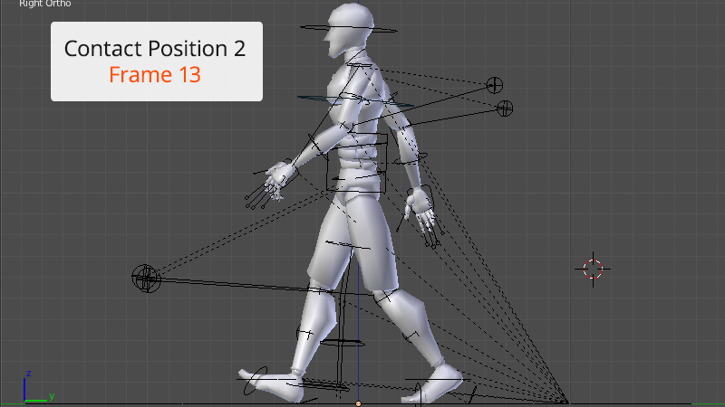 contact position 2 frame 13 of walk cycle animation