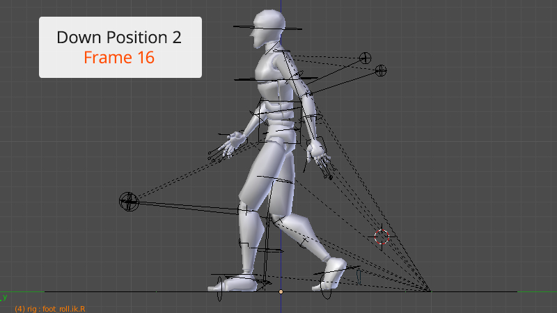 Down position 2 frame 16 of Walk animation