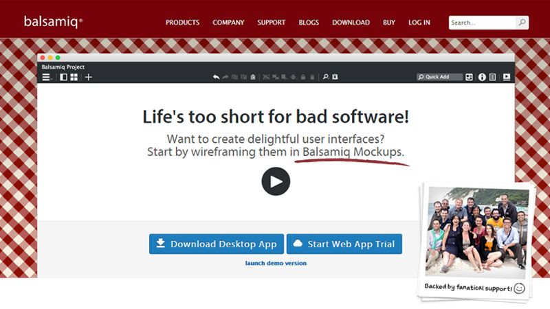 Screenshot balsamiq homepage
