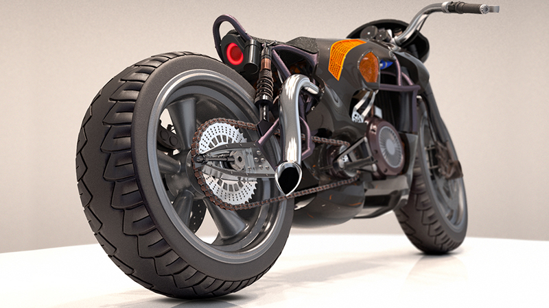 hard surface model of motorcycle