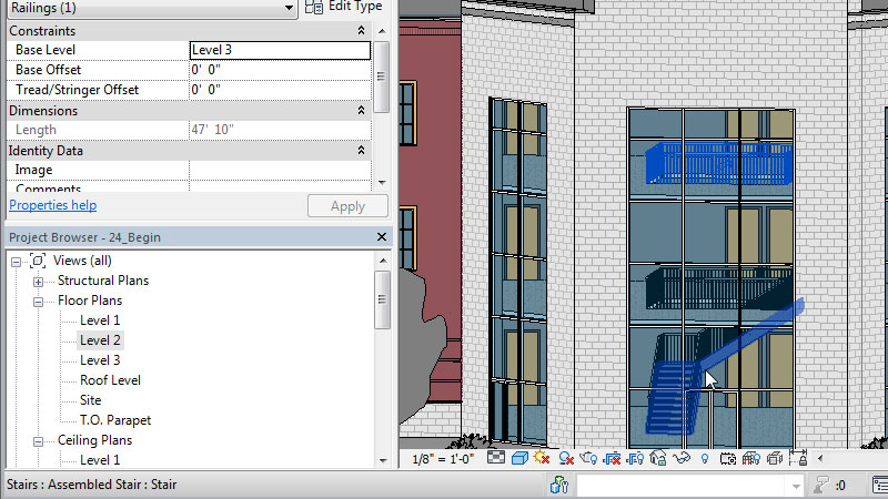 Revit user interface and example of stairwell made in Revit