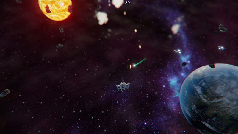 Top-down space shooter screenshot in Autodesk Stingray.