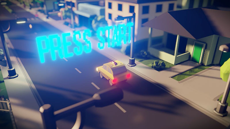 Taxi game screenshot in Autodesk Stingray.