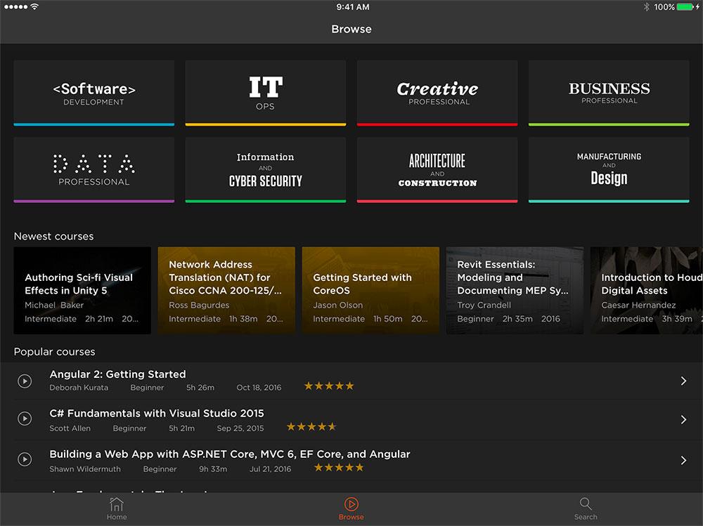 iPad screenshot of Pluralsight app