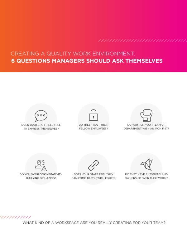 questions to ask about your work environment if you answer these questions truthfully and work to fix the problems you identity you ll be on your way to creating a better work environment