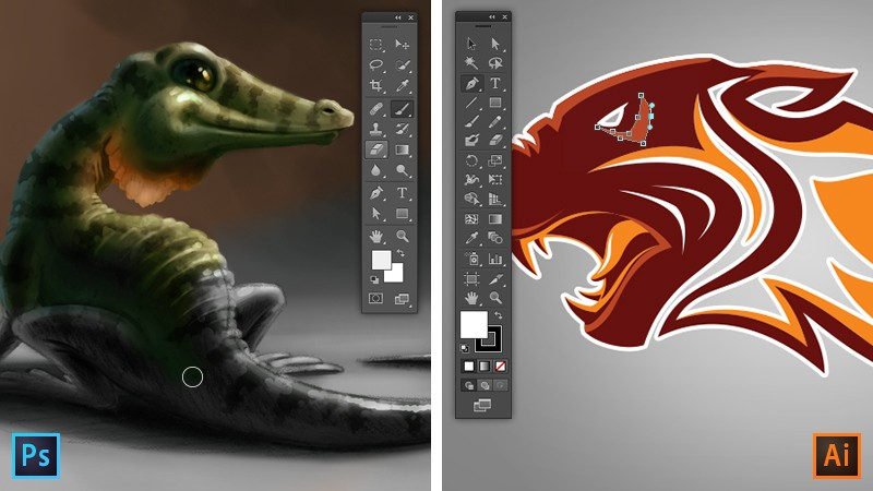 An image of a baby crocodile created with Photoshop vs an image of a logo created with Illustrator