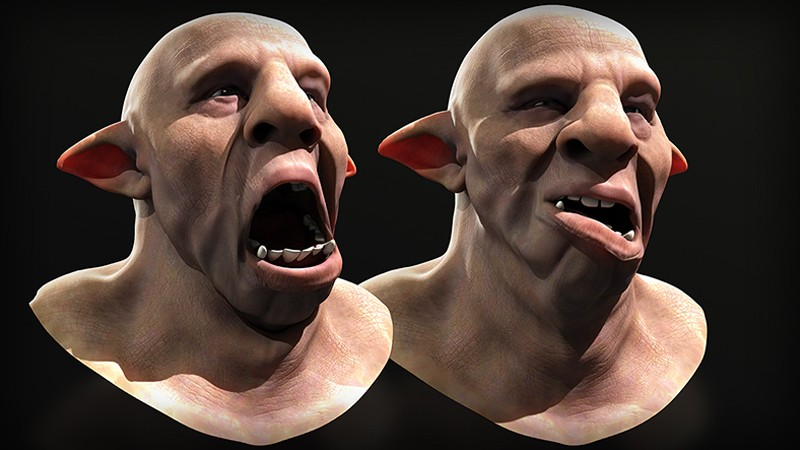 Examples of facial rig of 3D animated characters