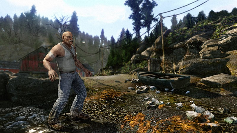 burly elderly 3d game character outdoors