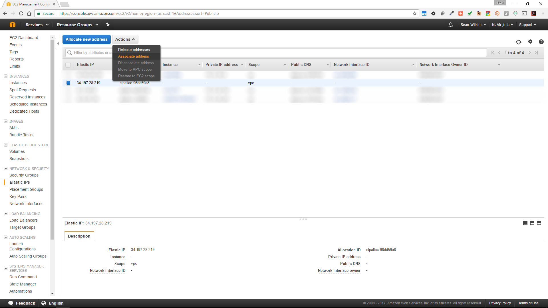 Configuring elastic IP addresses with AWS