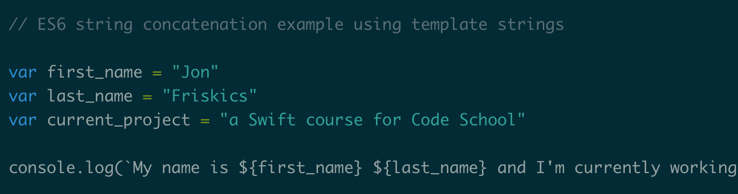 as you can see in the above code you just need to wrap each variable that you want to print inside of a template strings block which looks like this